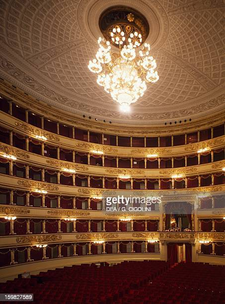 Interior of La Scala opera house in Milan 17761778 architect Giuseppe Piermarini with four tiers of boxes and two galleries Italy 18th century