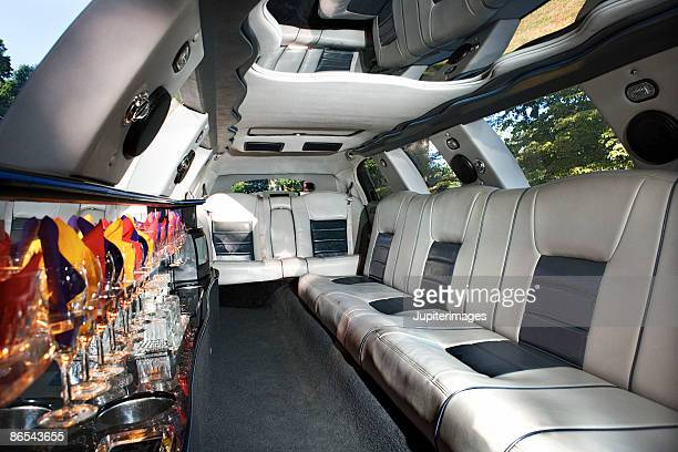 Interior of limousine with wet bar