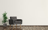 Interior of living room with black armchair and plant 3d rendering