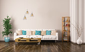Modern interior of living room with white sofa, pallet table, plant and shelf 3d rendering