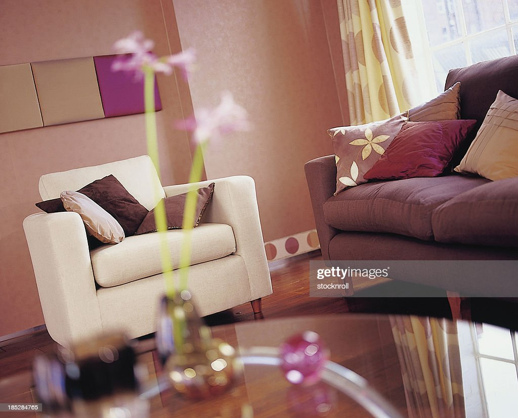 Interior of lounge with sofa and armchair. : Stock Photo