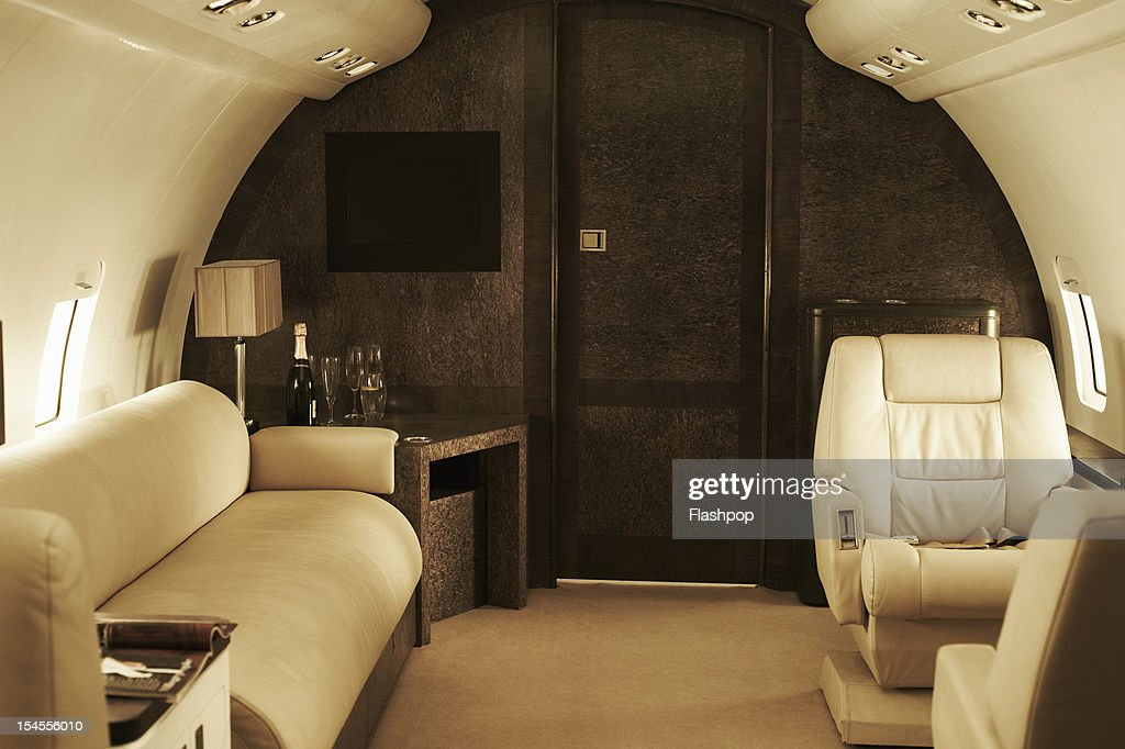 Interior of luxury private jet : Stock Photo