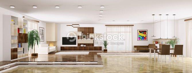 Interior del moderno apartamento panorama 3d render foto for Interni di appartamenti moderni