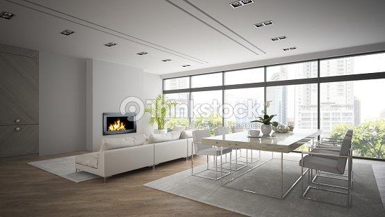 Interni Di Progettazione Moderno Loft Con Caminetto 3d Rendering 2 ...
