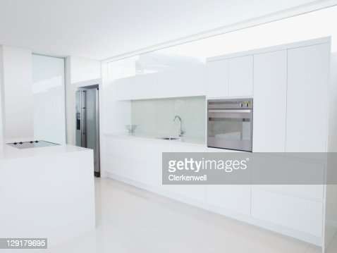 Interior of modern domestic kitchen : Stock Photo