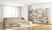 Home interior of modern living room with sofa and bookshelf 3d rendering
