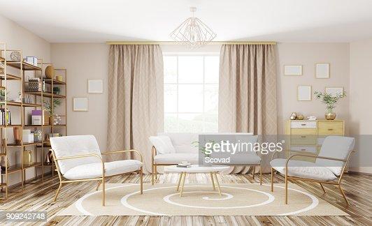Interior of modern living room 3d rendering : Stock Photo