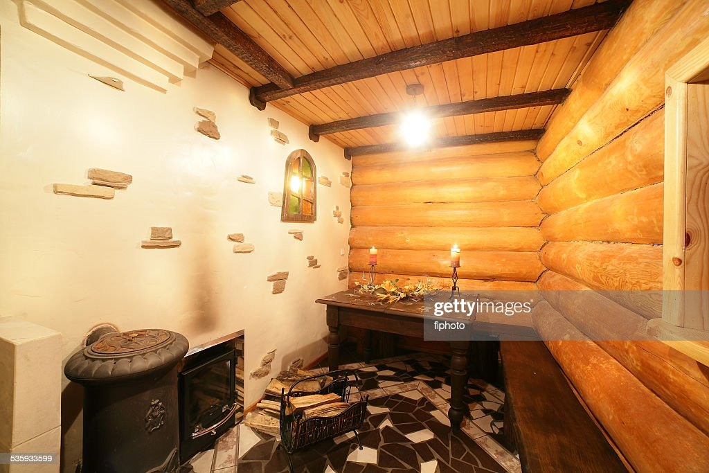 interior of modern wooden sauna : Stock Photo
