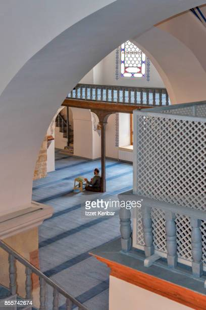 Interior of Nasrulllah Mosque, praying faithful , Kastamonu, Turlkey