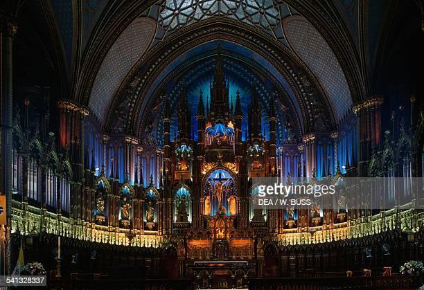 Interior of NotreDame Basilica Montreal Quebec Canada
