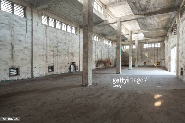 Interior of old and abandoned factory warehouse
