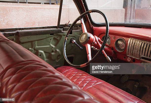 Interior of old-fashioned car