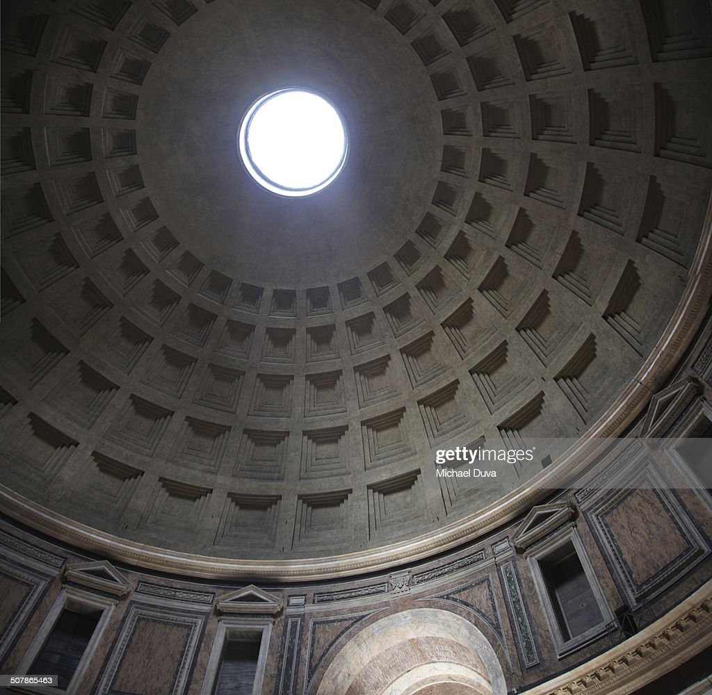 Interior of Pantheon with dome vaulted ceiling