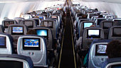 Interior Of Passengers Airplane While In Mid Air