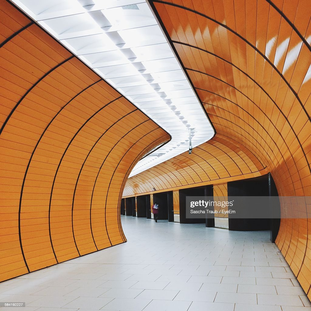 Interior Of Pedestrian Tunnel At Subway Station