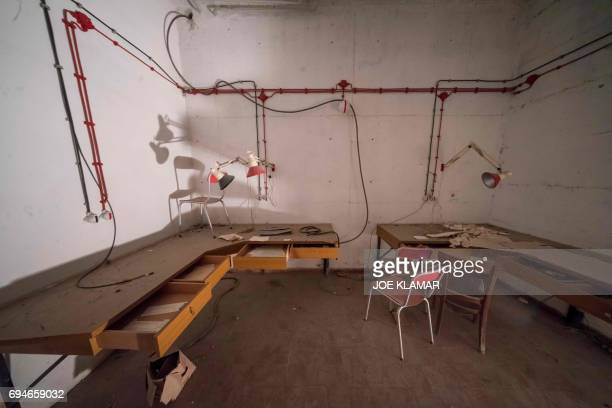 Interior of recently discovered fullyequipped surveillance facility in a secret room located at Hotel Jama at Postojna Slovenia on May 29 2017 Hotel...