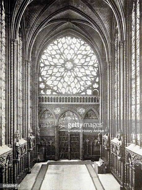 Interior of SainteChapelle a royal medieval Gothic chapel Dated 19th Century