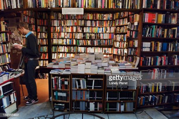 Interior of Shakespeare and Co. bookshop in the Marais.