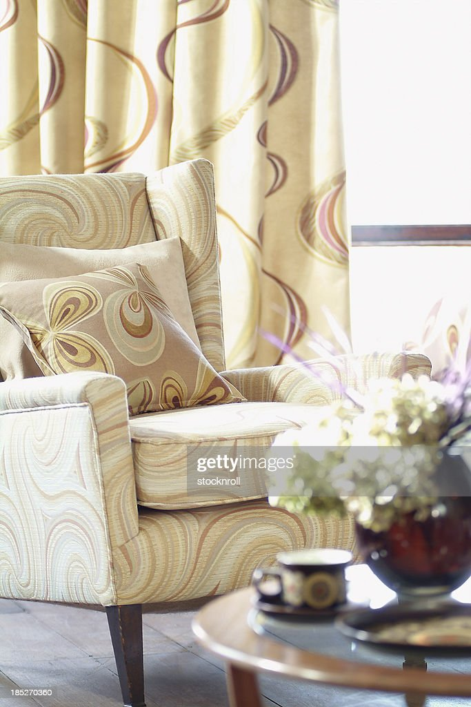Interior of single chair in living room : Stock Photo