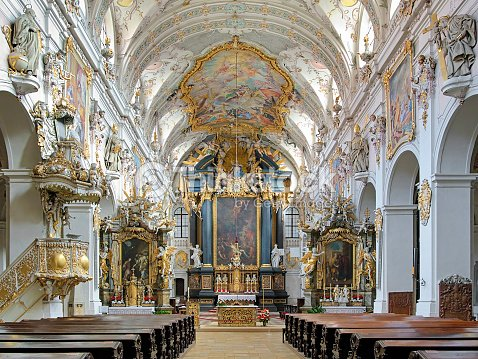 interior of st emmerams basilica in regensburg germany stock photo thinkstock. Black Bedroom Furniture Sets. Home Design Ideas
