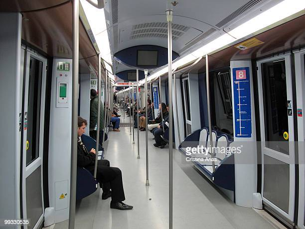 Interior of Subway train Madrid Spain