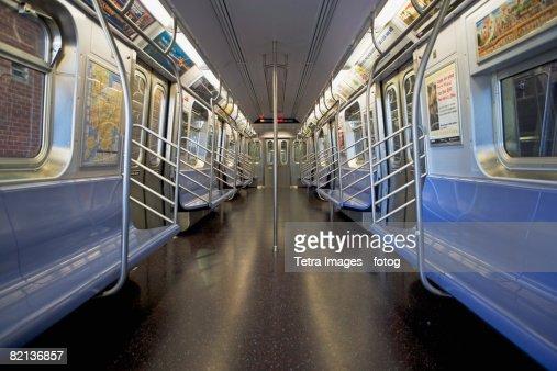 Interior of subway train, New York City, New York, United States