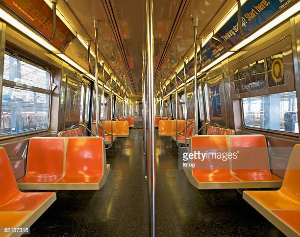 Interior of subway train, New York City, New York, United States