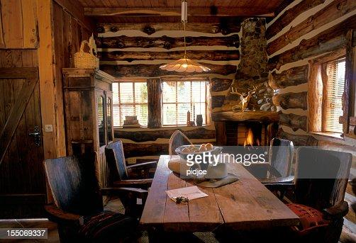 interior of Texan log cabin