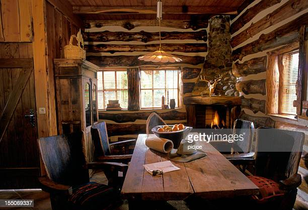 interior of Texan log cabin