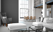 3D illustration. Interior of the apartment in loft style in light colors