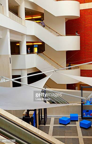 Interior of the British Library the world's largest library in terms of total number of items
