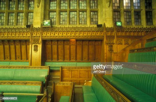 Interior of the chamber of the House of Commons in the Houses of Parliament / Palace of Westminster