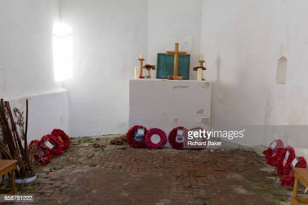 Interior of the Chapel at the strategicallyimportant Hougoumont Farm during the Battle of Waterloo on 25th March 2017 at Waterloo Belgium The farm...