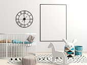 Interior of the childroom. sleeping place. 3d illustration. Mock up poster