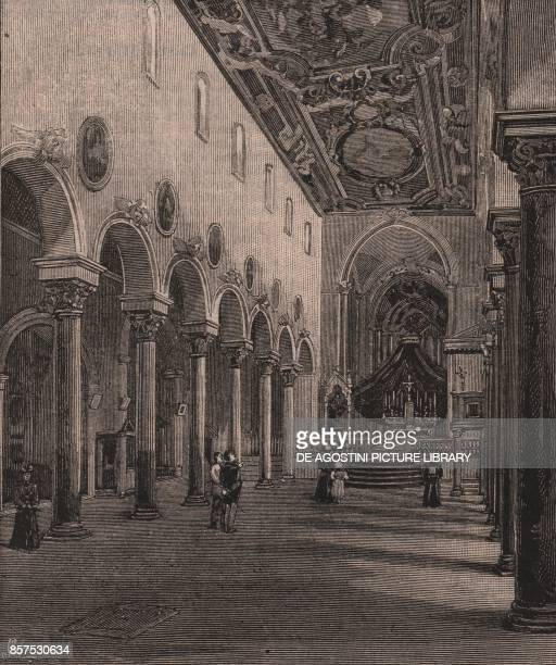 Interior of the church of St Michael the Archangel Casertavecchia cathedral Caserta Campania Italy woodcut from Le cento citta d'Italia illustrated...