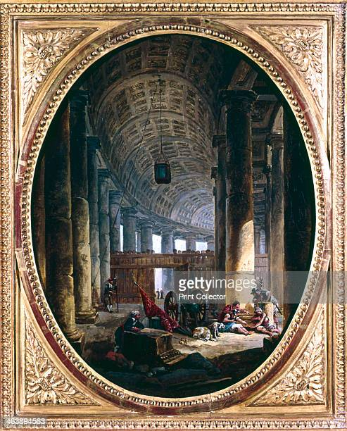 'Interior of the Colonnade of St Peter's Rome at the Time of the Conclave of 1769' The Italian architect and sculptor Giovanni Bernini designed the...