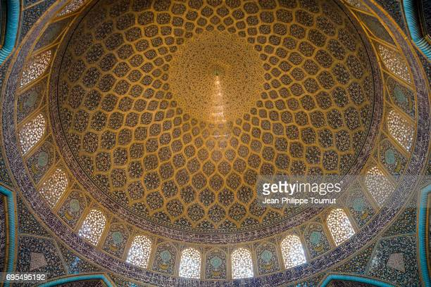 Interior of the dome of Sheikh Lotfollah Mosque, Isfahan, Iran