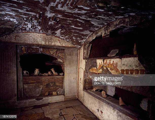 Interior of the fifth cubicle of six from the Cubicles of Sacraments Catacombs of St Callixtus Rome Italy 1st4th century
