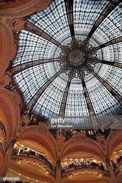 Interior of the Galleries Lafayette store showing the glass domed roof