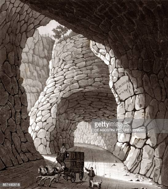 Interior of the Great Simplon tunnel Piedmont Italy copper engraving 201x225 cm from Corografia fisica storica e statistica dell'Italia e delle sue...