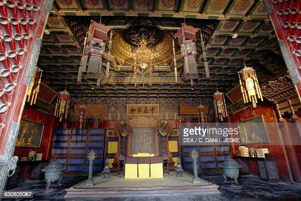 Interior of the Hall of Mental Cultivation Forbidden City Beijing China 15th century