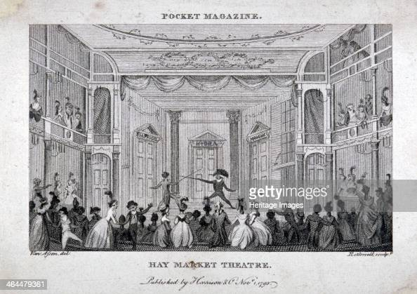 Interior of the Haymarket Theatre London 1795 View showing spectators watching a fencing match