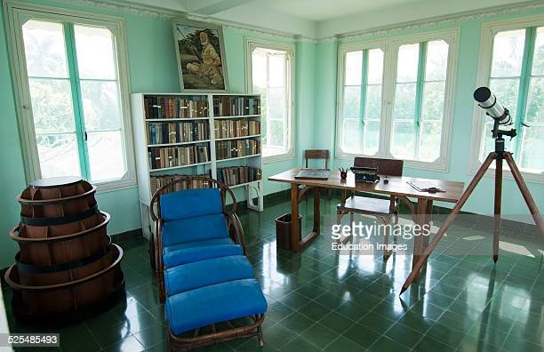 Interior of the historical home of writer Ernest Hemingway in Havana Cuba showing how he lived in San Francisco de Paula in writing room