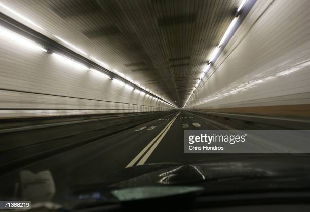 Interior of the Holland Tunnel connecting New York and New Jersey is viewed from inside a car July 7 2006 in New York Officials reportedly uncovered...