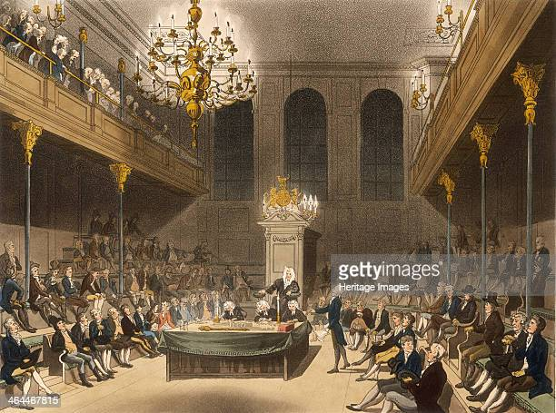 Interior of the House of Commons Westminter London 1809 A politician delivers a speech during a session at the House of Commons