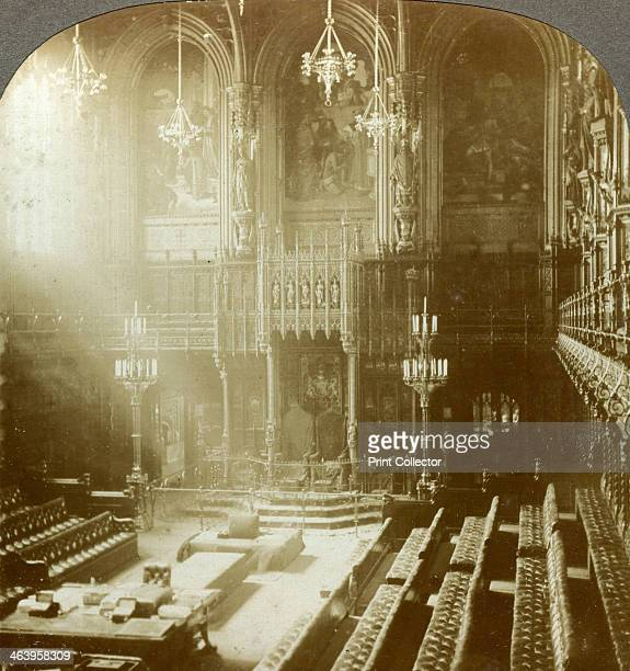Interior of the House of Lords Westminster London The chamber of the Upper House of the British Parliament The Woolsack where the Lord Chancellor...
