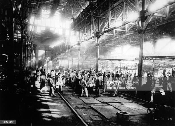 Interior of the Krupp steelworks in Essen the chief arms supplier of the German Empire