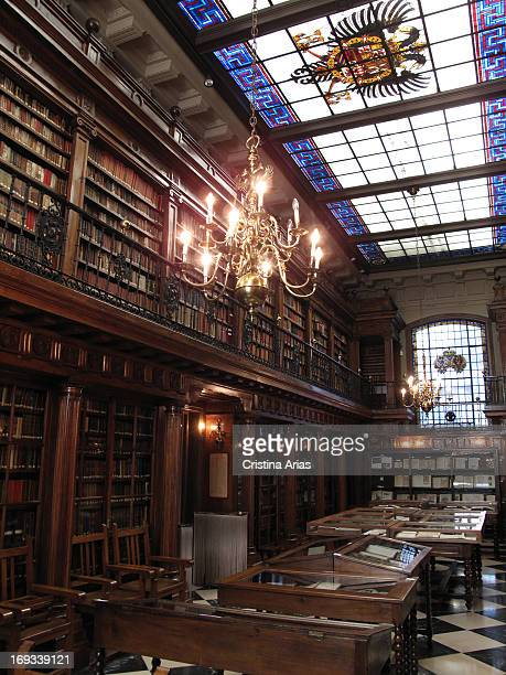Interior of the Library Menéndez Pelayo in Santander this library by the house museum was donated by the historian to his city Santander Cantabria...
