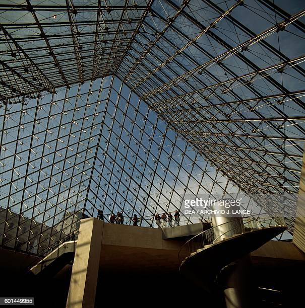 Interior of the Louvre Pyramid in 1989 by Ieoh Ming Pei Paris IledeFrance France Paris Musée Du Louvre