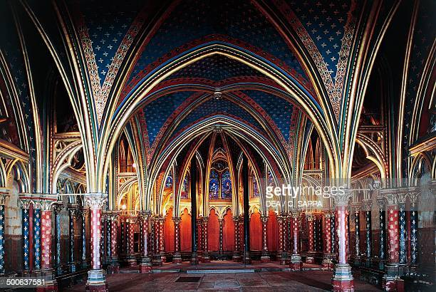 Interior of the Lower chapel SainteChapelle 12461248 Paris IledeFrance France 13th century